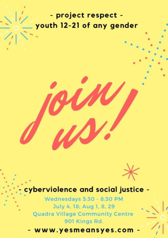Join Project Respect's summer cyberviolence social justice workshops!