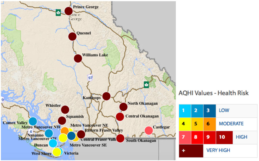 A map of fires and their health risks from BC 2018.