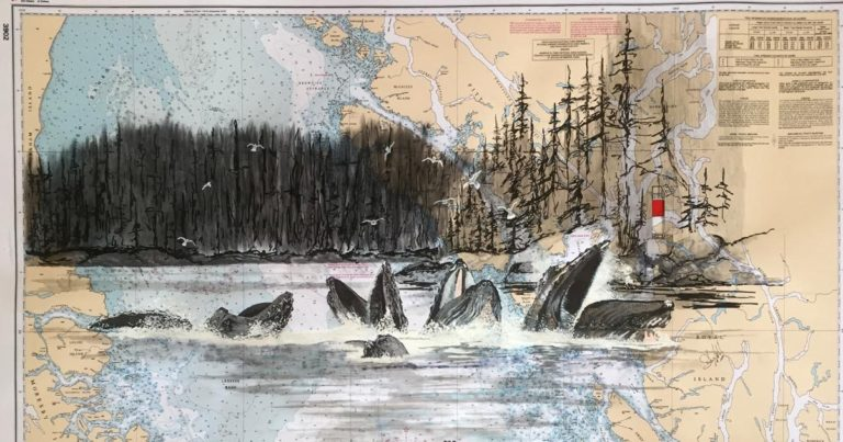 Humpback whales, artistic cartography, for the coast