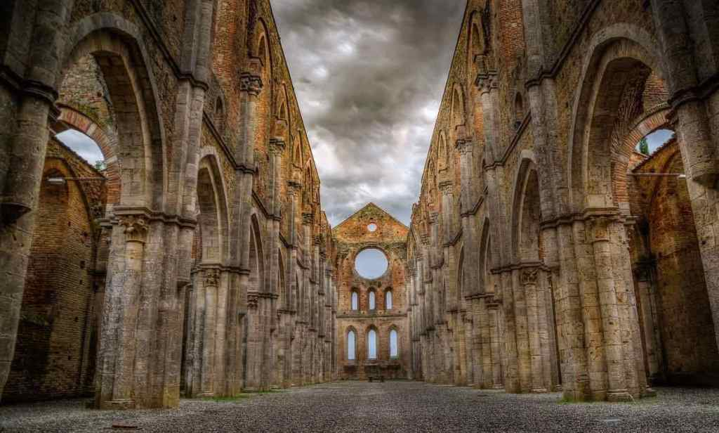 Looking down the nave of the now roofless gothic-style Abbey of Saint Galgano - a 13th century Cistercian Monastery