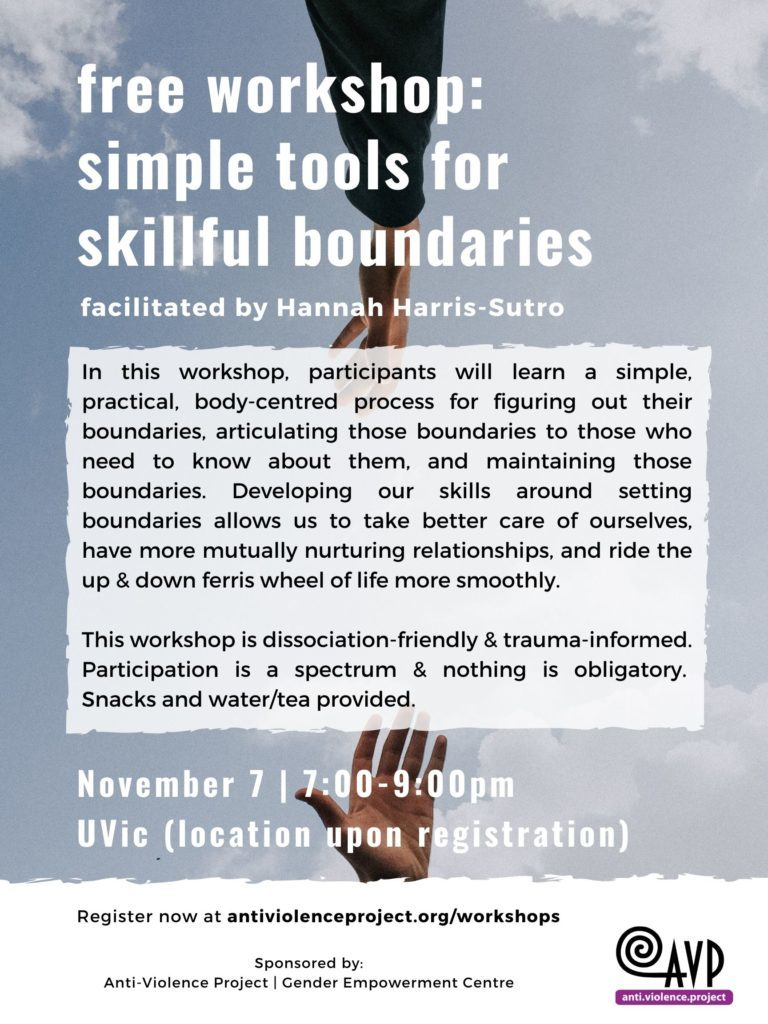 We're offering a workshop on setting boundaries!