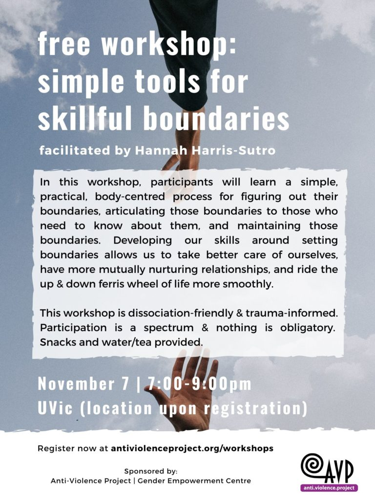 were offering a workshop on setting boundaries