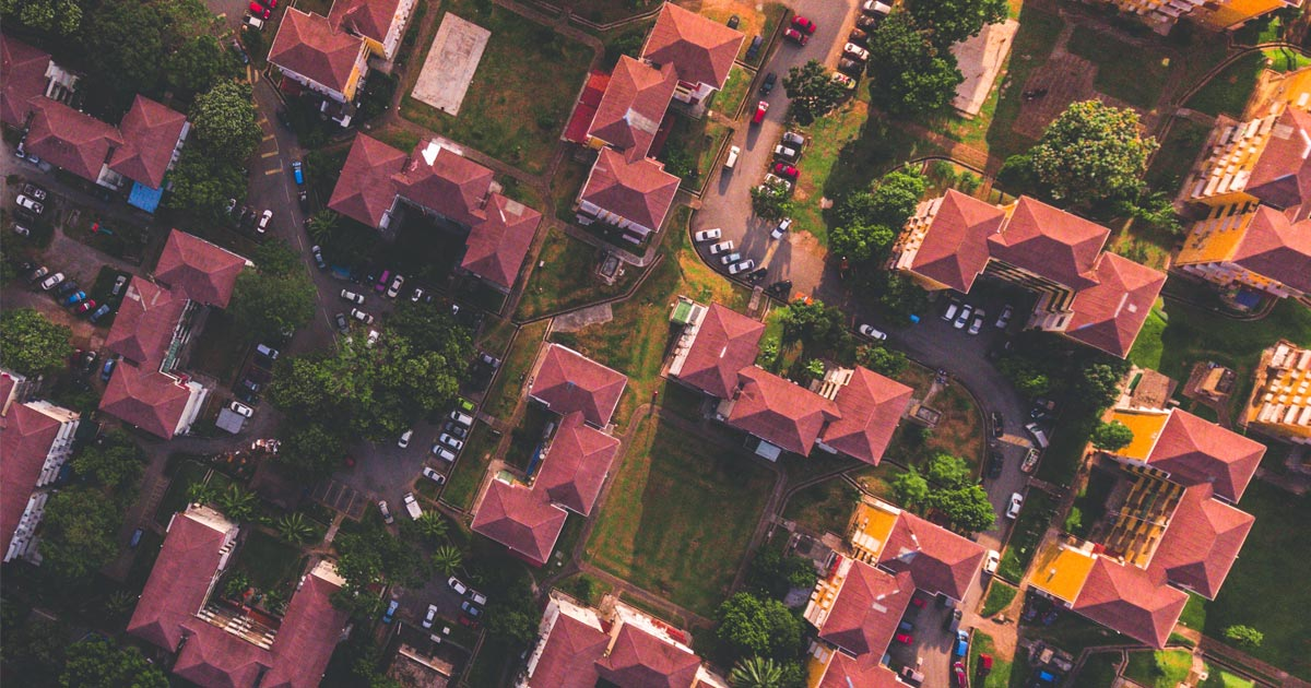 A series of home in a neighbourhood as seen from above.