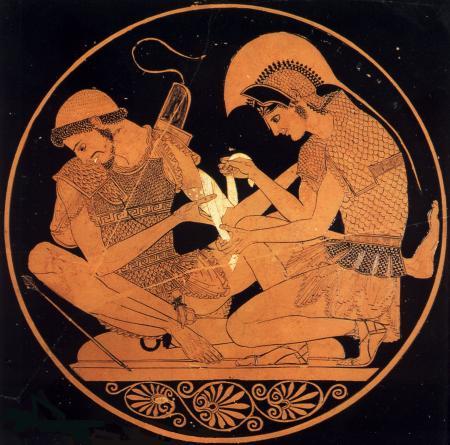 Achilles Binding Patroclus' Wounds (500 BCE)