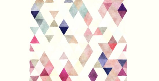 Kori Doty's logo, which is an abstract arrangement of pastel triangles against a white background.