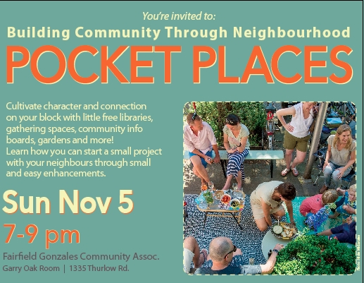 """Learn to Build Neighbourhood """"Pocket Places"""" to Cultivate Community: Nov. 5"""
