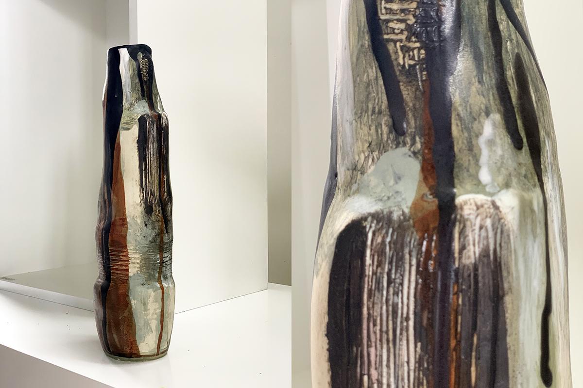 Tall pottery vase (5F)